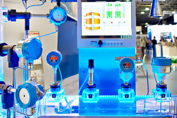 Exhibition installation electronic digital pressure gauge and water flow calculation monitoring stock photo