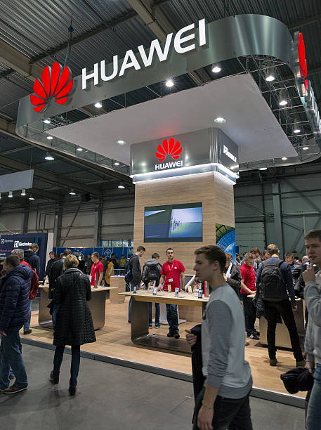 CEE 2016 exhibition of electronics in Kiev, Ukraine. Kiev, Ukraine - October 9, 2016: Unrecognized people visit Huawei, Chinese electronics manufacturer company booth during CEE 2016. huawei stock pictures, royalty-free photos & images