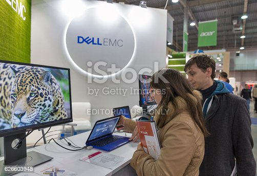 Kiev, Ukraine - October 9, 2016: Unrecognized people visit Dell Emc, an American data storage company booth during CEE 2016.