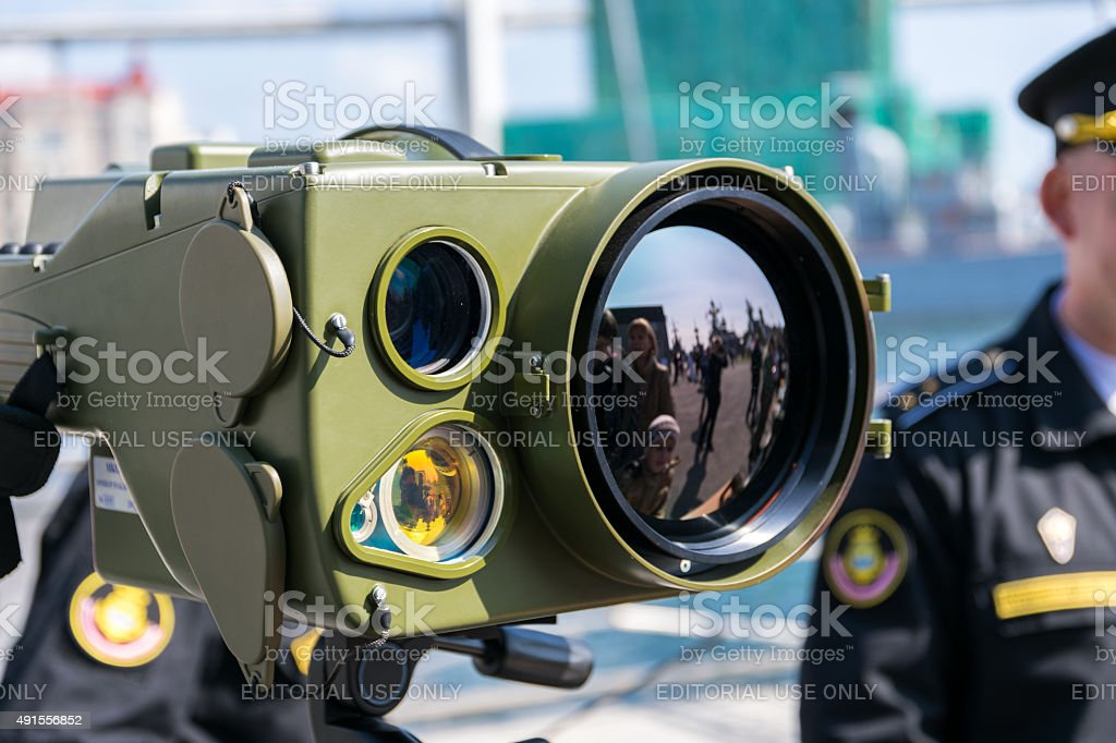 Exhibition of military technology. stock photo