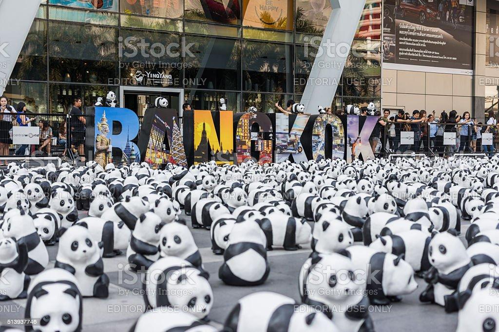 Exhibition of the 1,600 paper-mache panda World Tour Exhibition stock photo