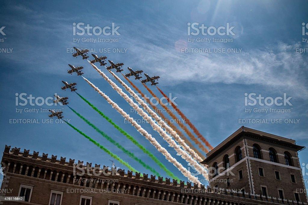 exhibition of tricolor arrows stock photo