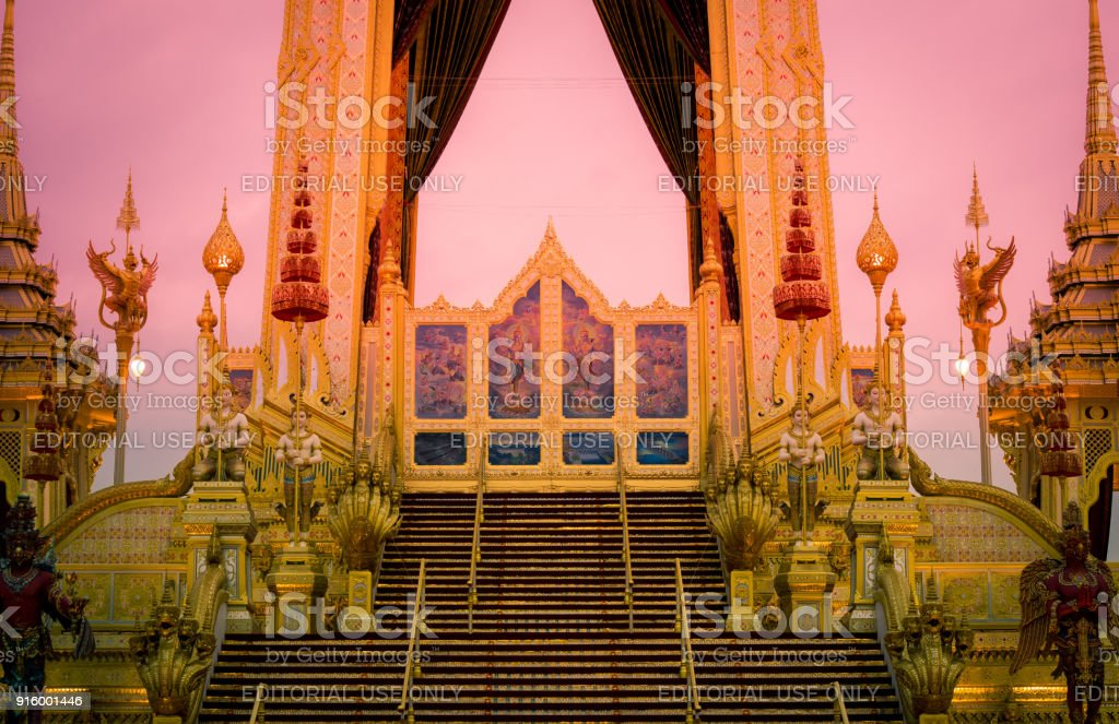 Exhibition on royal cremation ceremony of His Majesty King Bhumibol Adulyadej,Sanam Luang,Bangkok,Thailand on November7,2017:Fire screen at the Royal Crematorium consists of paintings featuring the god Vishnu and royally initiated projects. stock photo