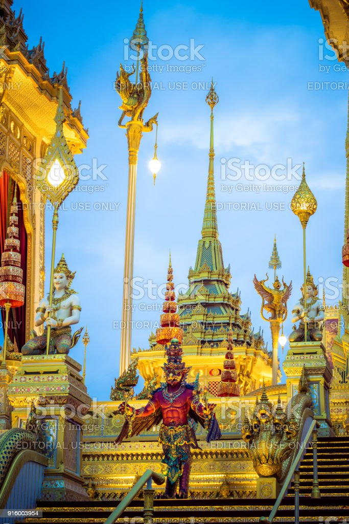 Exhibition on royal cremation ceremony of His Majesty King Bhumibol Adulyadej,Sanam Luang Ceremonial Ground,Bangkok,Thailand on November7,2017:Sculptures of mythical creatures surround the Royal Crematorium stock photo