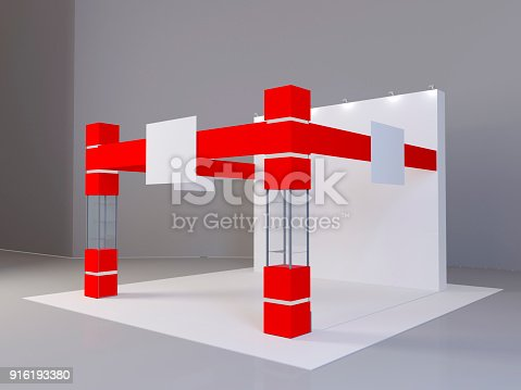 istock Exhibition red stand, 3D rendering visualization of exhibition equipment, Advertising space on a white background 916193380