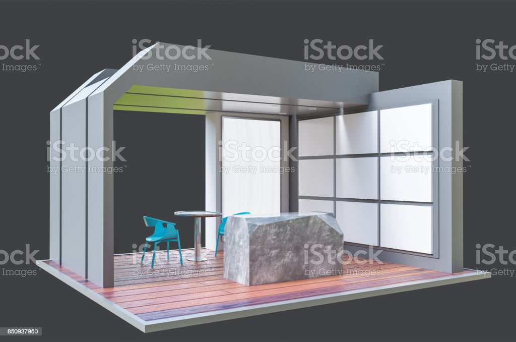 Exhibition stand 3d template stock photo