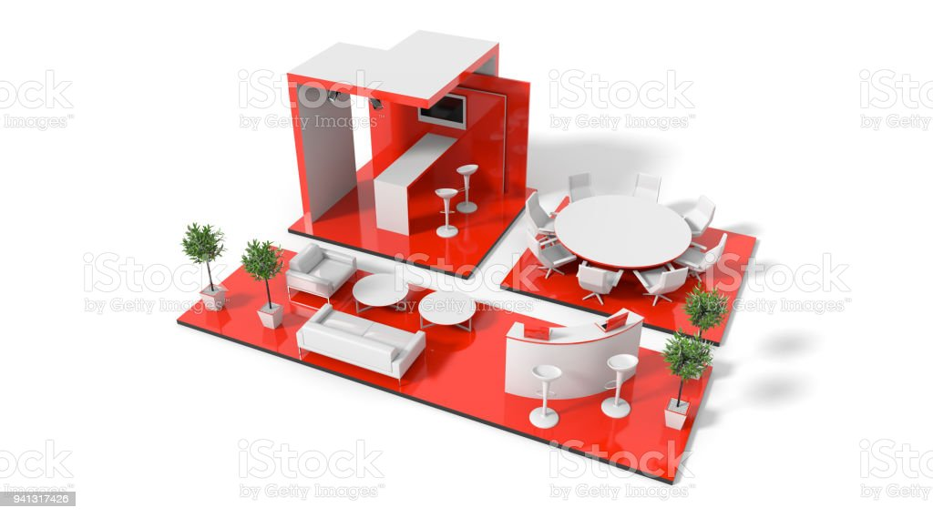 Exhibition stand on white 3d render stock photo