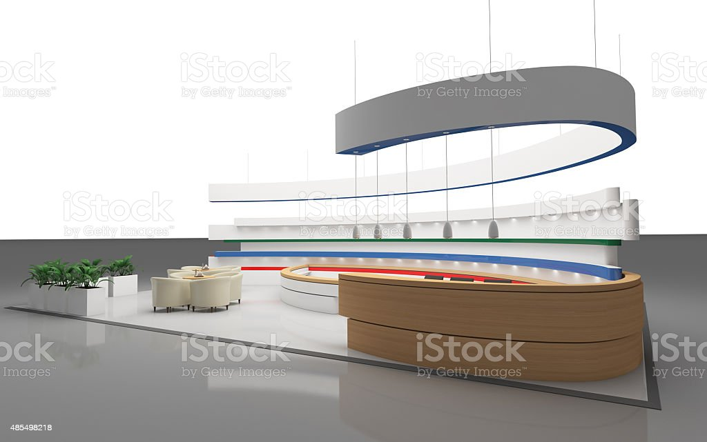 Exhibition Stand Round : Exhibition stand with a round wall stock photo more