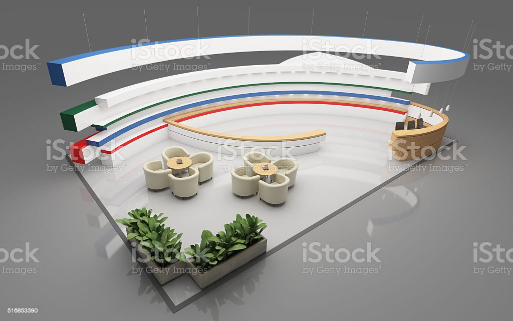 Exhibition Stand Round : Exhibition stand with round shape stock photo more