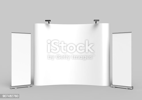 istock Exhibition Tension Fabric Display Banner Stand Backdrop for trade show advertising stand with LED OR Halogen Light with standees and counter. 3d render illustration. 907482760