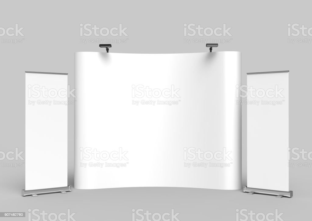 Exhibition Tension Fabric Display Banner Stand Backdrop for trade show advertising stand with LED OR Halogen Light with standees and counter. 3d render illustration. stock photo