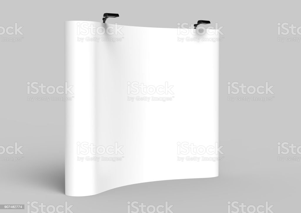 Exhibition Tension Fabric Display Banner Stand Backdrop for trade show advertising stand with LED OR Halogen Light. 3d render illustration. stock photo