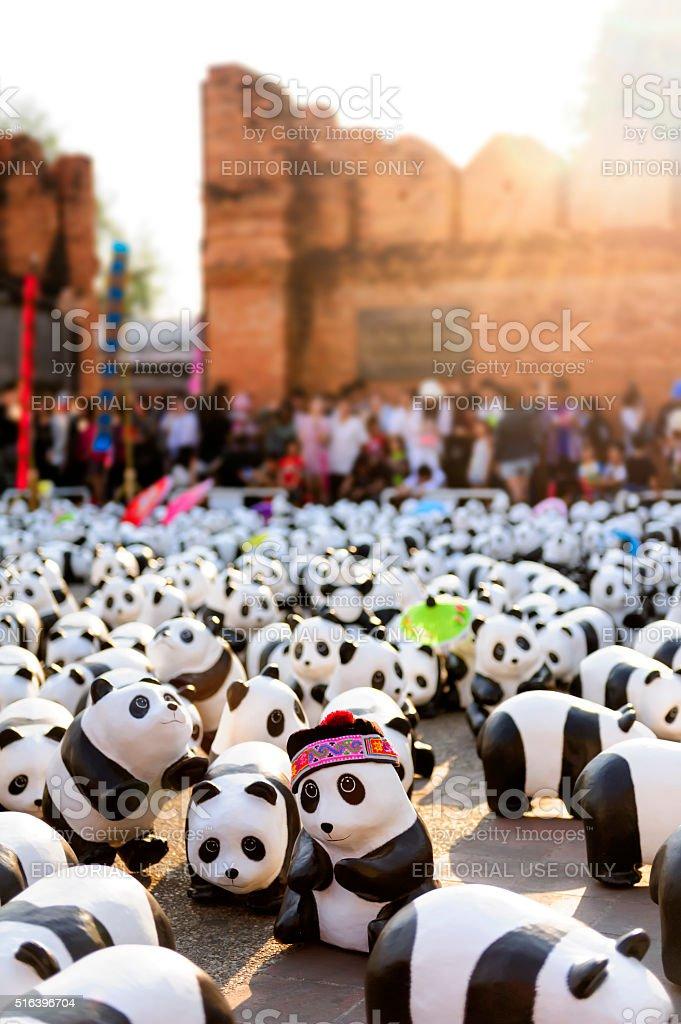 Exhibitions art pandas WWF in Thailand. stock photo
