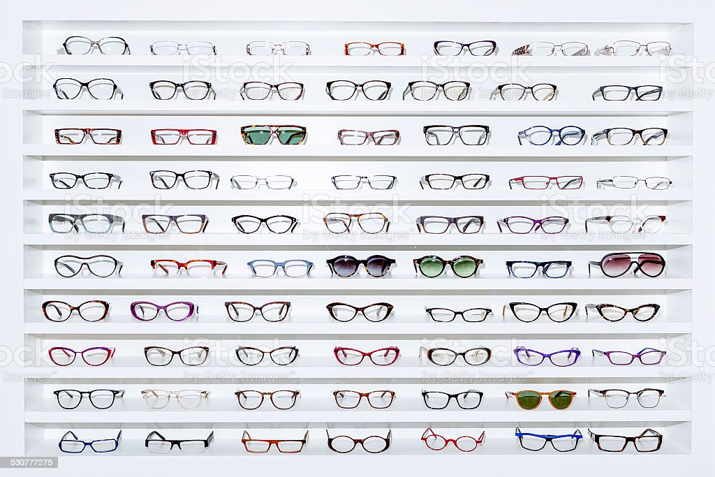 exhibitor of glasses stock photo
