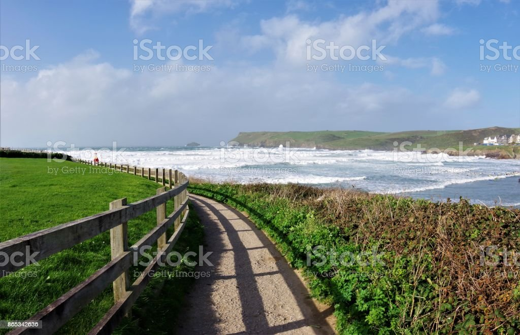 Ex-Hurricane Ophelia - Dramatic Skies and Stormy Seas off North Cornwall, Southwest England, October 2017 stock photo