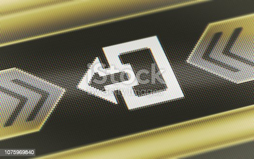 istock Exit icon on the screen. 1075969840