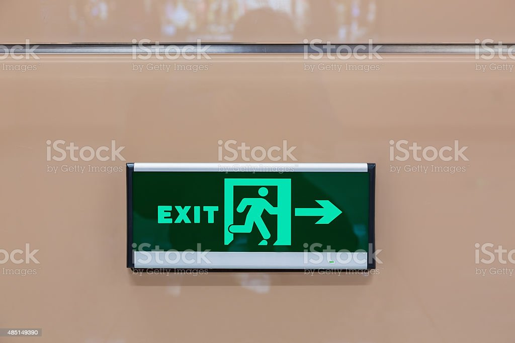 Exit light stock photo