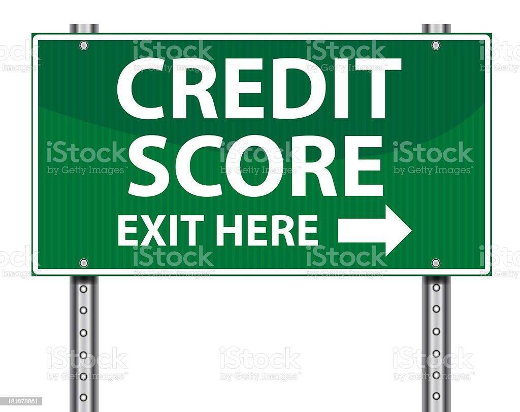Exit Sign   Credit Score stock photo