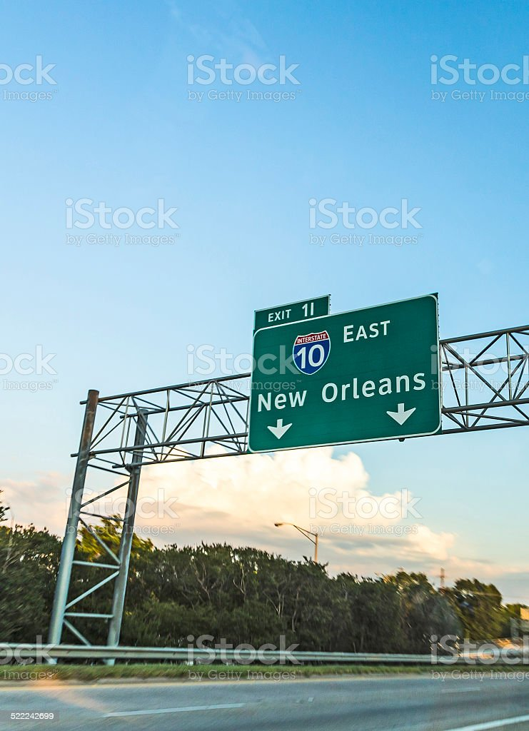 exit sign New Orleans on interstate 10 stock photo