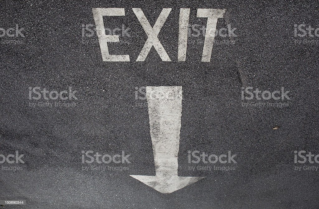 Exit sign on tarmac royalty-free stock photo