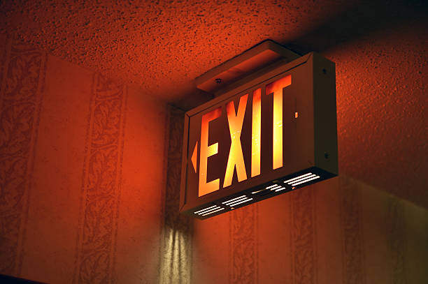 exit sign - exit sign stock photos and pictures