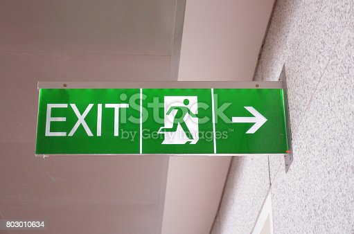 Exit sign in airport