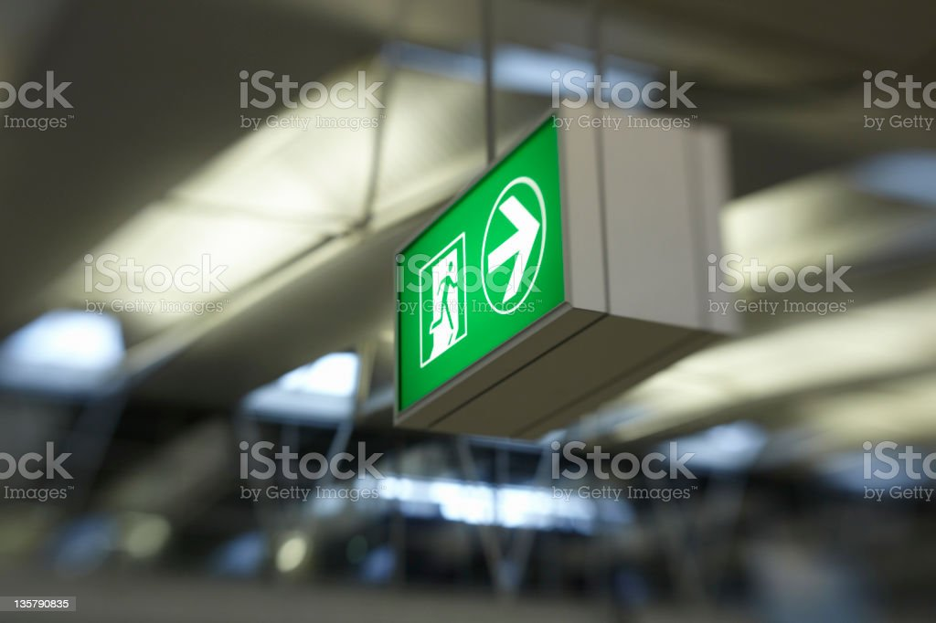 Exit signage at airport stock photo