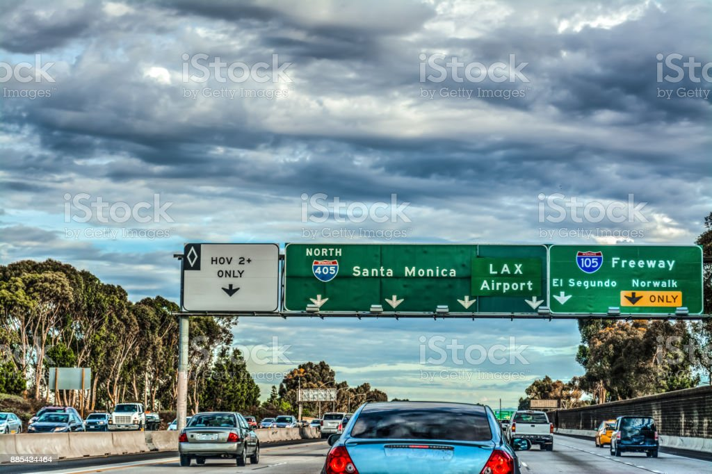 Exit signs in 405 freeway in Los Angeles stock photo