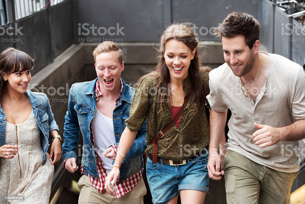 Exit the Subway royalty-free stock photo