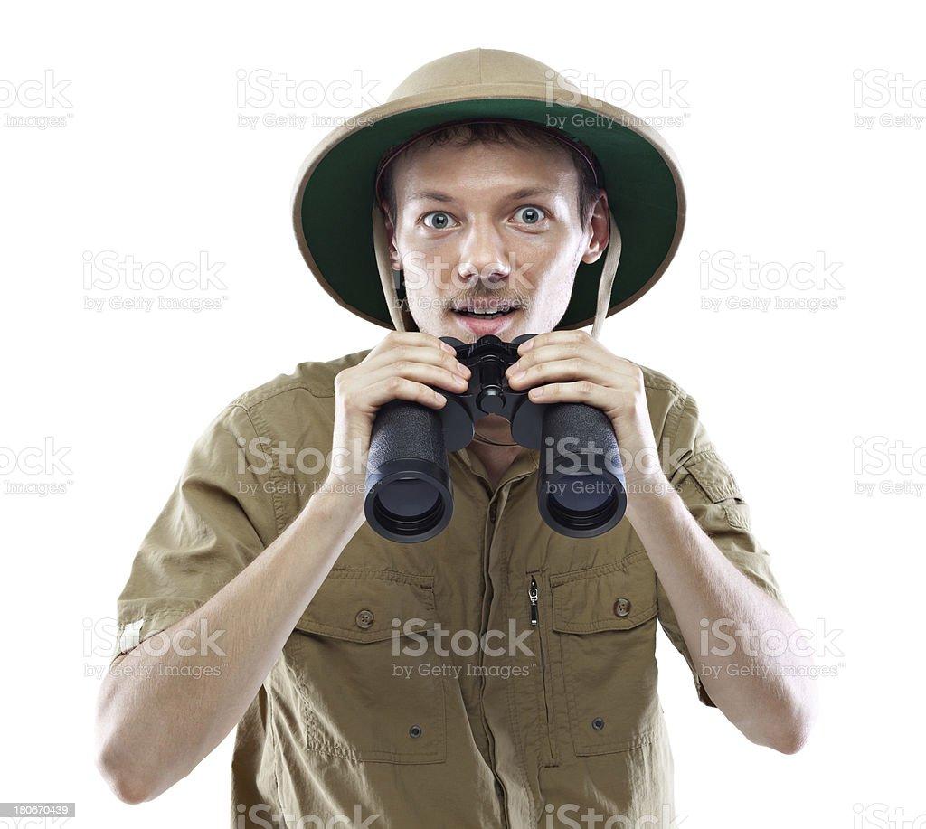 Exited explorer holding binoculars stock photo
