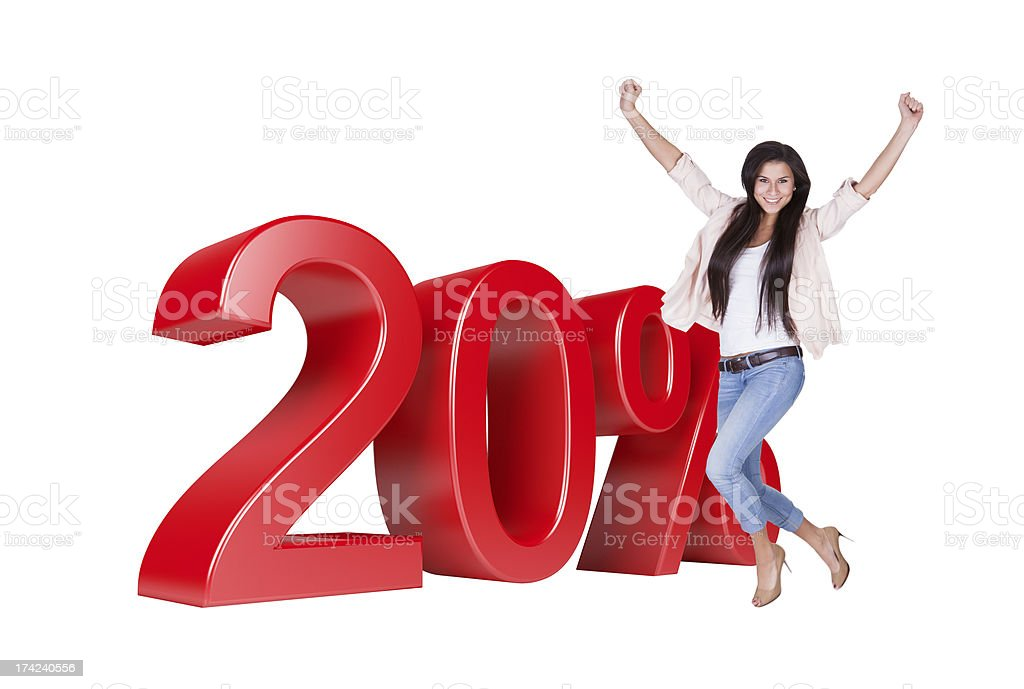 Exited Woman Jumping In Front Of 20% Sale Discount stock photo