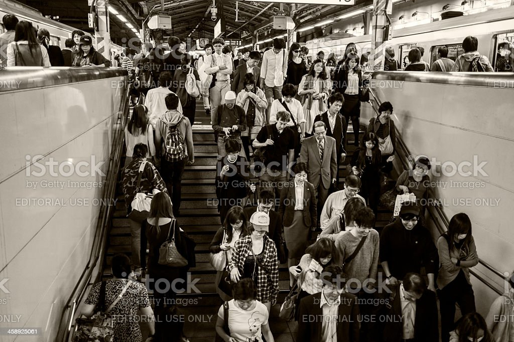 Exiting train in Tokyo Japan royalty-free stock photo