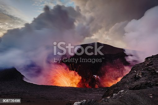 Erupting Volcano Mt. Yasur, view from the crater ash top towards the erupting craterlake of the active Mount Yasur Volcano, Tanna Island, Vanuatu, Melanesia, South Pacific