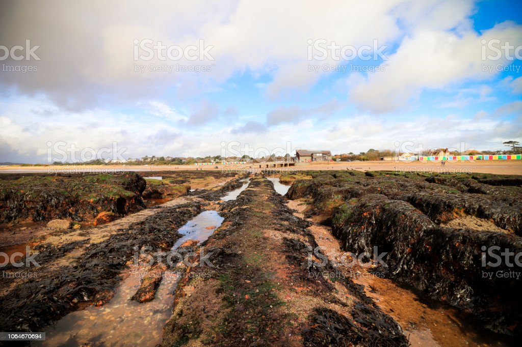 Exmouth beach and rock pools stock photo