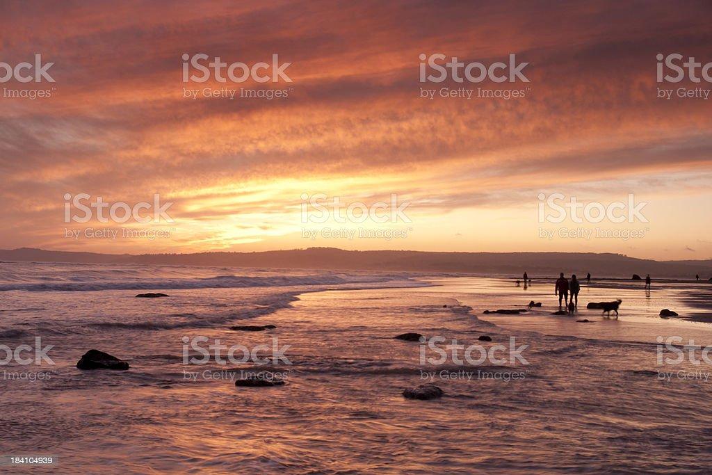 Exmouth beach in Devon at sunset stock photo