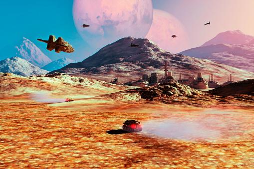 Exo planet colonization concept image.