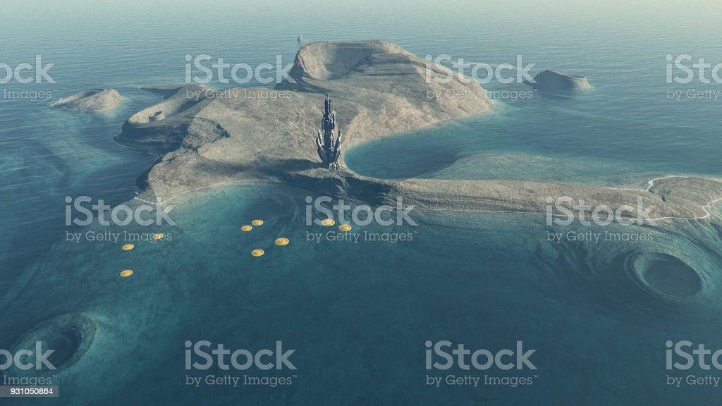 Exo planetary island with alien colonization basecamp stock photo