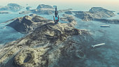 Exo planetary island with alien colonization basecamp