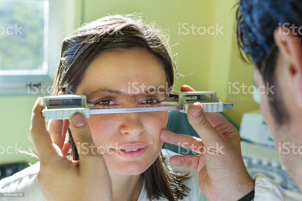 exophthalmos exam stock photo
