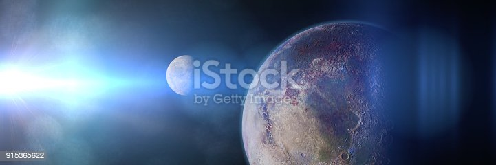 istock exoplanet and exomoon lit by an alien sun 3d science fiction render, elements of this image are furnished by NASA) 915365622
