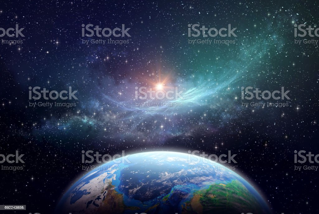 Exoplanet in deep space stock photo