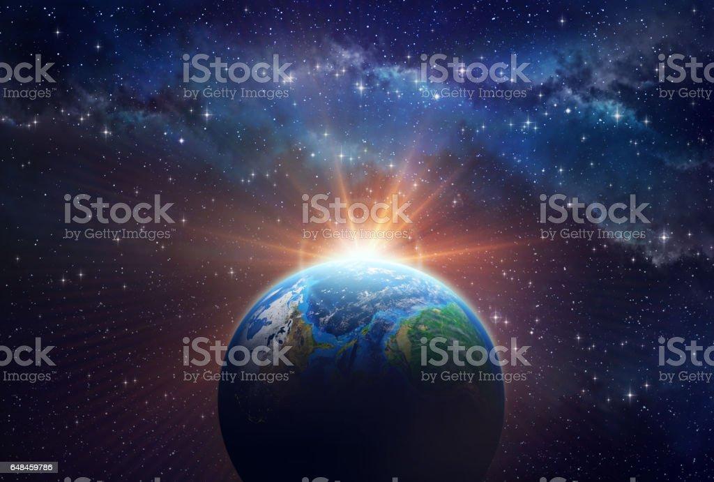 Exoplanet sunrise stock photo
