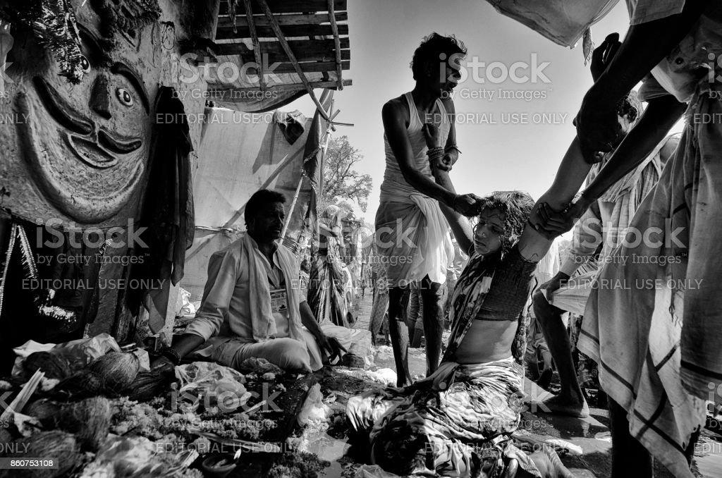 Exorcism at Kumbh stock photo