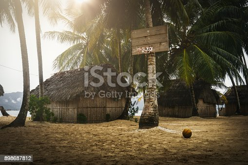 istock exotic basketball field on an island with the basket on a palm tree 898687812