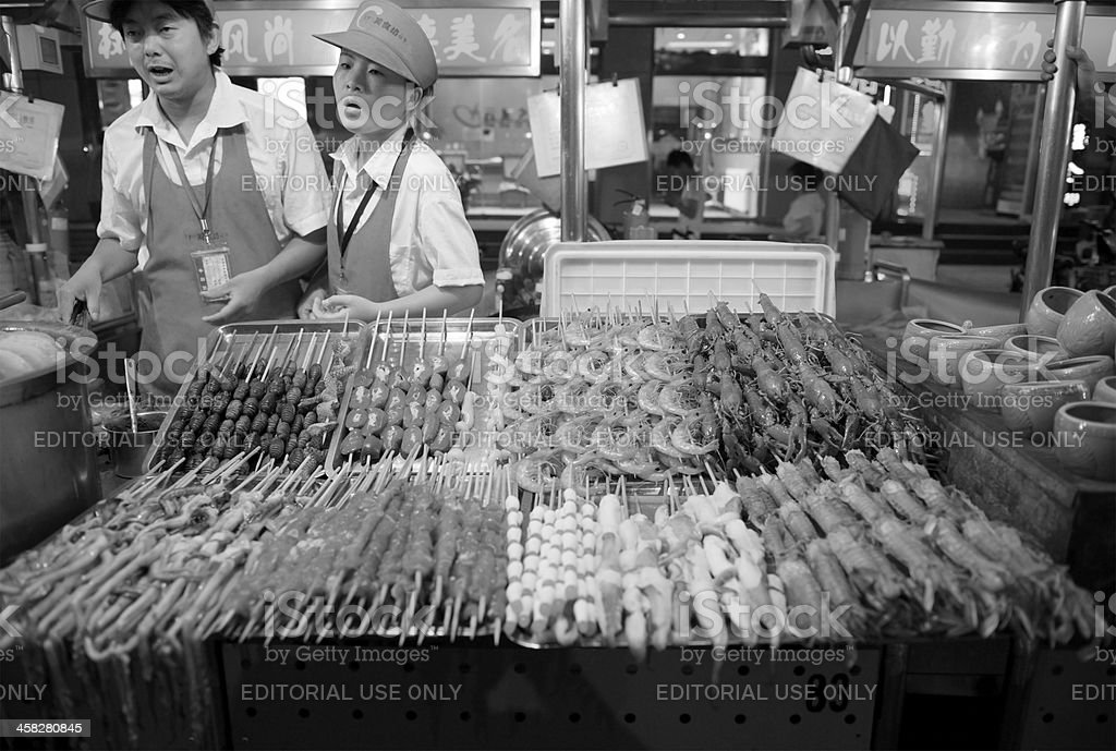 Exotic food on display at stall in Beijing snack street royalty-free stock photo