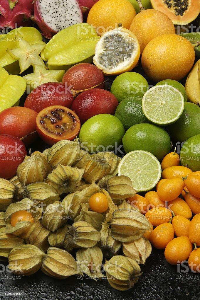 Exotic fruit arrangement royalty-free stock photo