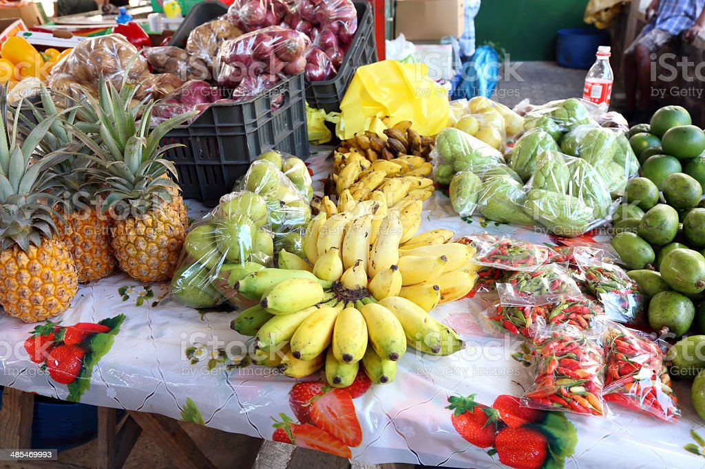 Exotic fruit at a market stock photo