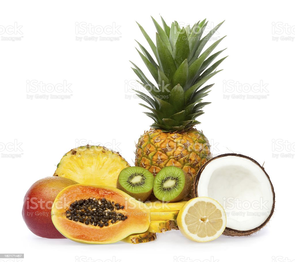 exotic fruit composition isolated on white