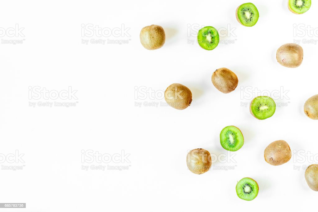 exotic fruit design with kiwi on white background top view mock up royalty-free stock photo