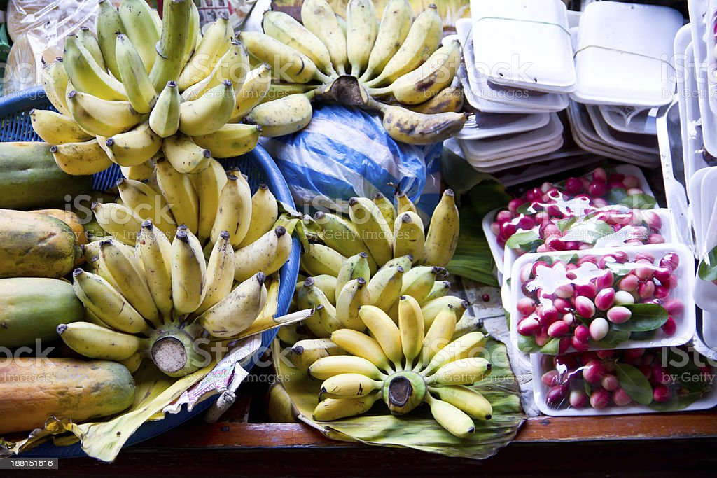 Exotic fruits for sale on Damnoen Saduak floating market royalty-free stock photo